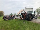 Tractor driver critically injured in crash