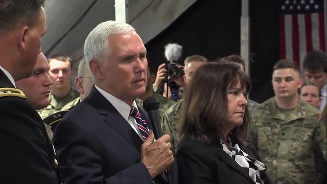 Vice President Mike Pence meets Indiana National Guard members