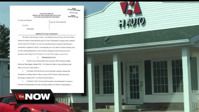 Bloomington auto dealer told to stop car sales