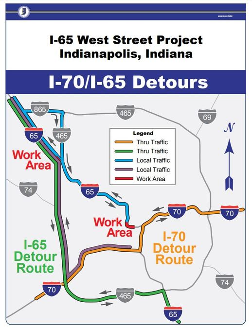 I 65 Construction Indiana Map.Portions Of I 65 In Downtown Indy Will Be Closed From July August