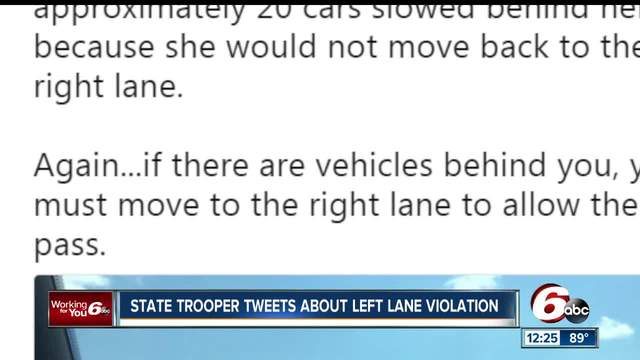 Indiana State Police trooper stops vehicle for driving slow in left lane
