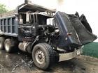Dump truck fire on Massachusetts Ave
