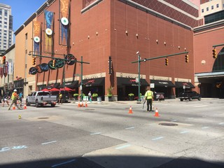 Intersection reopens following manhole collapse