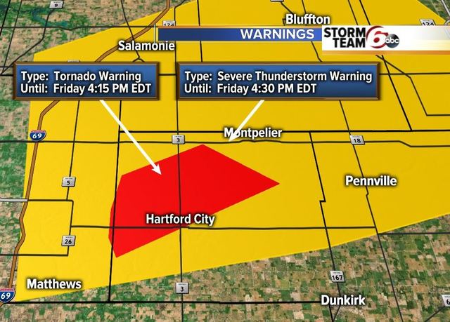 WATCH: Tornado Warning issued for Blackford Co.