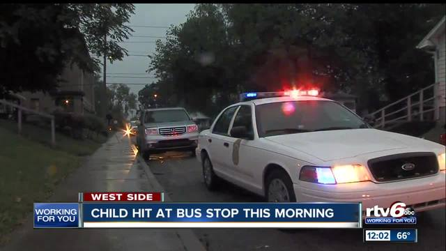 Child struck by vehicle while waiting for bus on Indianapolis- west side