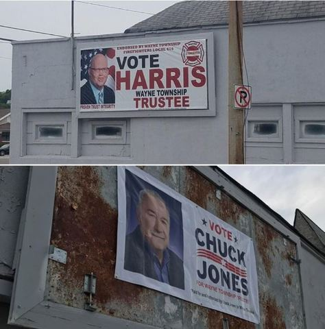 Trustee candidates spar over swapped billboard
