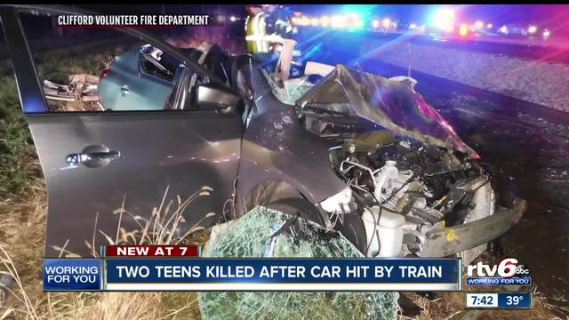 Two killed after car hit by train in Bartholomew County