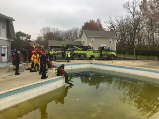 Driver escapes after crashing into pool