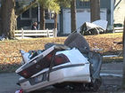 Car hits pole, splits into 2 parts after chase